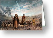 Christmas Greeting Cards - Shepherds Field Painting Greeting Card by Munir Alawi
