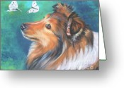 L.a.shepard Greeting Cards - Shetland Sheepdog and butterfly Greeting Card by Lee Ann Shepard