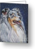 Shetland Sheepdog Greeting Cards - Shetland Sheepdog in snow Greeting Card by Lee Ann Shepard