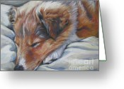 Shetland Sheepdog Greeting Cards - Shetland sheepdog sleeping puppy Greeting Card by Lee Ann Shepard