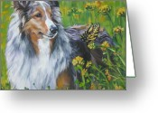 Sheltie Greeting Cards - Shetland Sheepdog Wildflowers Greeting Card by L A Shepard