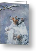 Sheepdog Greeting Cards - Shetland Sheepdog with chickadee Greeting Card by Lee Ann Shepard