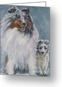 Shetland Sheepdog Greeting Cards - Shetland Sheepdogs in snow Greeting Card by Lee Ann Shepard