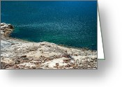 Shimmering Greeting Cards - Shimmering Azure Water Greeting Card by Jenny Rainbow
