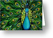 Turquoise Pastels Greeting Cards - Shimmering Feathers of a Peacock Greeting Card by Elizabeth Robinette Tyndall