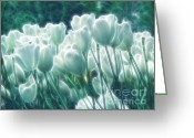Tulip Art Botanical Art Mixed Media Greeting Cards - Shimmering Tulips Greeting Card by Zeana Romanovna