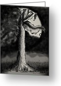Surrealism Drawings Greeting Cards - Shining through the Darkness Greeting Card by Sherry Thompson