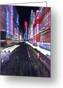 Hustle Bustle Greeting Cards - Shinjuku District in Tokyo Greeting Card by Rob Tilley