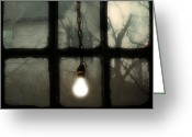 Window Panes Greeting Cards - Shinning Greeting Card by Gothicolors With Crows
