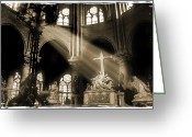 Notre Dame Greeting Cards - Shinning Through Greeting Card by Mike McGlothlen