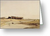 East Anglia Painting Greeting Cards - Ship Building  Greeting Card by William Callow