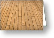 Wood Plank Flooring Greeting Cards - Ship Deck Greeting Card by Brandon Bourdages