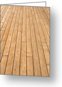 Wood Plank Flooring Greeting Cards - Ship Deck used for Background Greeting Card by Brandon Bourdages