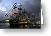 "\""pirate Ship\\\"" Greeting Cards - Ship in the Bay Greeting Card by David Lee Thompson"