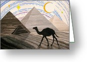 Pyramid Drawings Greeting Cards - Ship Of The Desert Greeting Card by Mike Paget