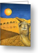 Merchant Greeting Cards - Ship of the Desert Greeting Card by Robert Lacy
