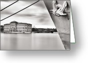 Building Greeting Cards - Ship With Anchor In Harbor Greeting Card by Peter Levi