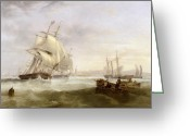 Frigate Greeting Cards - Shipping off Hartlepool Greeting Card by John Wilson Carmichael