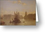 Greenwich Greeting Cards - Shipping on the Thames at Greenwich Greeting Card by David Roberts