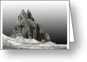 Framed Drawings Greeting Cards - Shiprock Mountain Four Corners Greeting Card by Jack Pumphrey