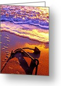 Shadows Greeting Cards - Ships anchor on beach Greeting Card by Garry Gay