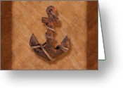 Rust Greeting Cards - Ships Anchor Greeting Card by Tom Mc Nemar