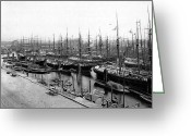 Hamburg Greeting Cards - Ships in Harbour 1900 Greeting Card by Stefan Kuhn