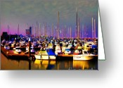 Aquarel Greeting Cards - Ships in harbour Greeting Card by Wino Evertz