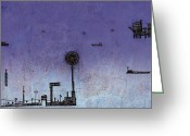 Bay Drawings Greeting Cards - Ships in the Night Greeting Card by Andy  Mercer