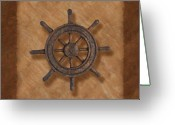 Brown Tones Photo Greeting Cards - Ships Wheel Greeting Card by Tom Mc Nemar