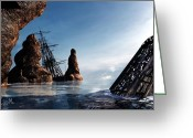 "\""pirate Ship\\\"" Greeting Cards - Shipwreck Greeting Card by Bob Orsillo"