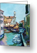 Impressionist Mixed Media Greeting Cards - Shipyard in Venice Greeting Card by Filip Mihail