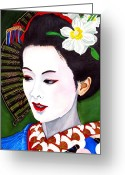 Maiko Greeting Cards - Shirabyoshi Greeting Card by Emmanuel Turner
