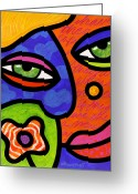 Abstract Bright Color Greeting Cards - Shirley Whirly-Gig Greeting Card by Steven Scott
