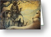 Om Greeting Cards - Shiva Parvati . Spring in Himalayas Greeting Card by Vrindavan Das
