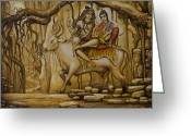 Religious Art Painting Greeting Cards - Shiva Parvati Ganesha Greeting Card by Vrindavan Das
