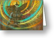 Om Greeting Cards - Shiva Shakti Greeting Card by Vrindavan Das