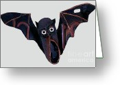 Bat Mixed Media Greeting Cards - Shoe Bat Greeting Card by Bill  Thomson