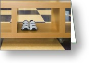 Linoleum Greeting Cards - Shoes in a Shelving Unit Greeting Card by Andersen Ross
