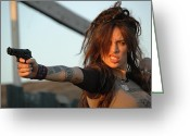Femme Fatale Greeting Cards - Shoot Em Up Greeting Card by Liezel Rubin