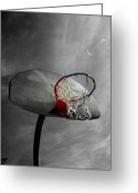 Basketball Greeting Cards - Shoot Greeting Card by Sarah Bauer