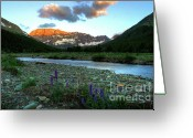 Glacier Greeting Cards - Shooting Star Sunrise Greeting Card by Dave Hampton Photography
