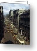 Large Group Greeting Cards - Shoppers And Trams Clog Renfield Street Greeting Card by B. Anthony Stewart