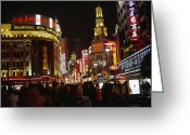 City Lights And Lighting Greeting Cards - Shoppers On Nanjing Lu, A Popular Greeting Card by Justin Guariglia