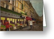 Paris Pastels Greeting Cards - Shopping Rue Cler Greeting Card by D Rogale