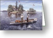 Canada Painting Greeting Cards - Shore Lunch on the Line Greeting Card by Richard De Wolfe