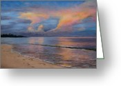 Ocean Landscape Pastels Greeting Cards - Shore of Solitude Greeting Card by Susan Jenkins