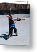 Hockey Action Greeting Cards - Shot Greeting Card by Caitlin Lecker