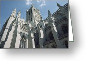 Washington Cathedral Greeting Cards - Shot looking up at the Greeting Card by Joseph H. Bailey