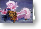 Costumes Painting Greeting Cards - Show Girls Greeting Card by Pat Burns